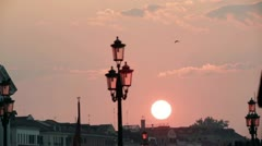 Lamp and sunset at the pier in Venice 2 Stock Footage