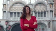 Lonely girl in Venice Stock Footage