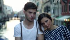 Boy and girl in Venice - stock footage