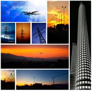 Low light industrial collage Stock Illustration