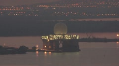 SBX MOORED AT PEARL HARBOR AT NIGHT Stock Footage