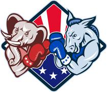 Democrat donkey republican elephant mascot boxing. Stock Illustration