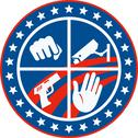 Stock Illustration of security cctv camera gun fist hand circle.