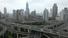 Aerial Chinese Highway Crowded Traffic Rush Hour Busy City time lapse Shanghai Stock Footage