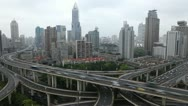 Stock Video Footage of Aerial Chinese Highway Crowded Freeway Rush Hour Busy City time lapse Shanghai