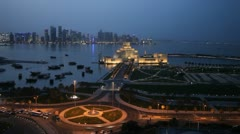 Qatar, Doha Corniche, Museum of Islamic Arts, West Bay, Persian Gulf, time lapse - stock footage