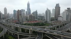 Automobiles Motion Cars Passing Elevated Highway Shanghai Aerial View Commuters - stock footage