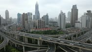 Automobiles Motion Cars Passing Elevated Highway Shanghai Aerial View Commuters Stock Footage