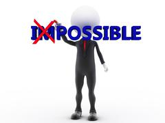 Businessman turning the word impossible into possible on white background Stock Illustration