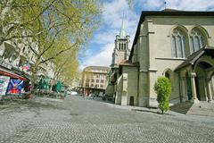 Lausanne, switzerland - april 20: place of st. francois on april 20, 2012 in Stock Photos