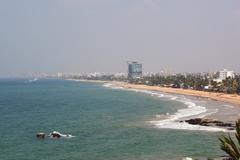 hazy colombo shoreline - stock photo