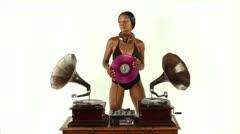 Female dj dancing gramophones 4k Stock Footage