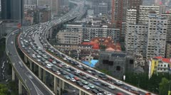 Aerial View Shanghai Skyline China Heavy Car Traffic Busy City Highway timelapse - stock footage