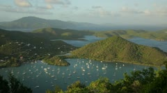 Coral Bay sunset, St John, USVI (pan) Stock Footage