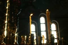 Stock Video Footage of church 1.  Icon and candle in the Orthodox Church.