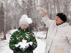 Play snowballs Stock Photos