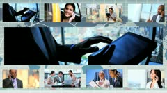 Montage Multi Ethnic Business People With wireless Technology - stock footage