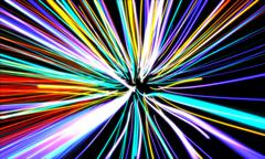 zoom motion neon glowing lights lines - stock photo
