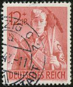 german vintage stamp, macro - stock photo