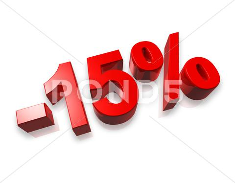 Stock photo of 15% fifteen percent