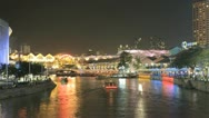 Stock Video Footage of Singapore time lapse of Clarke Quay