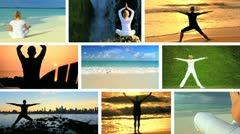 Montage Images Female Yoga Fitness Practice Stock Footage