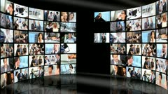 Montage wall multiple panels business people - stock footage