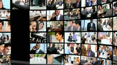 Montage wall multiple panels business people Stock Footage