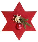 Red star with christmas decoration Stock Photos
