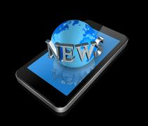 Stock Illustration of mobile phone and news world globe