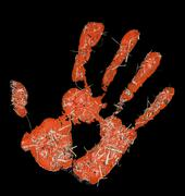 red hand imprint with hay - stock photo