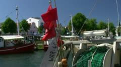 Fishing Boats on Alter Strom in Warnemünde (Rostock) - Baltic Sea, Germany - stock footage