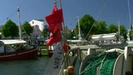 Stock Video Footage of Fishing Boats on Alter Strom in Warnemünde (Rostock) - Baltic Sea, Germany