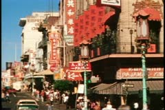 San Francisco, 1970's, Chinatown, busy street scene, signs in Chinese Stock Footage