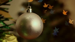 Christmas-tree decorations on starshaped background Stock Footage