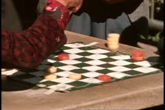 San Francisco, 1970's, Chinatown, men playing checkers, old man cigar Stock Footage