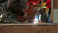 Stock Video Footage of Sparks on Job Site