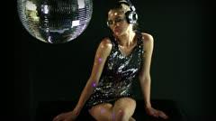 Gogo discoball headphones music 4k Stock Footage