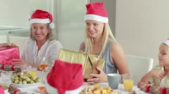 Family exchanging christmas presents Stock Footage