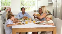 Family sharing holiday dinner Stock Footage