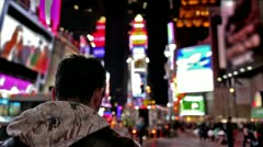 Stock Video Footage of Times Square Tourist Man Foreigner Takes Picture Manhattan New York City NYC USA