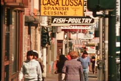 San Francisco, 1970's, The Mission District, street scene, Spanish signs, people - stock footage