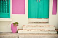 Green and Pink House San Juan Puerto rico - stock photo
