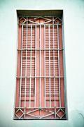 Red window - stock photo