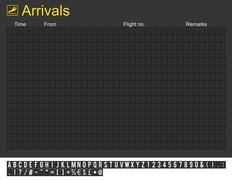 Empty international airport arrivals board - stock photo