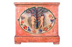 Antiikki puinen lipasto Aadamin ja Eevan maalaus Kuvituskuvat