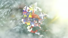 Zoom into USA State Flags on a 3D Map Stock Footage