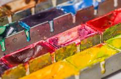 close up of a watercolor paint box - stock photo