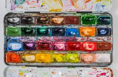 plan view of a watercolor paint box - stock photo