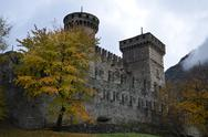 Fenis castle in a cloudy day Stock Photos